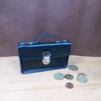 Porte monnaie cuir noir argent