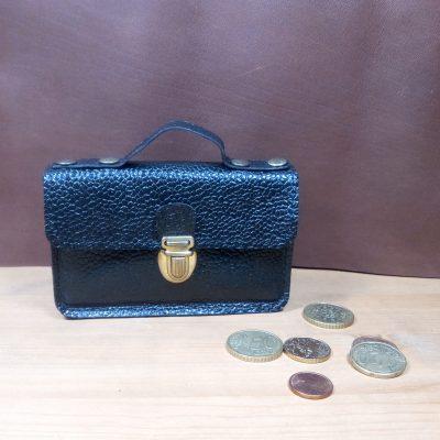 Porte monnaie noir Grain de cuir