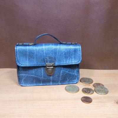 Porte monnaie cuir gris bleuté