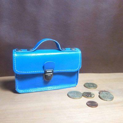 Porte monnaie cartable cuir bleu klein