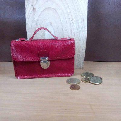 Porte monnaie cuir rouge wadi rum