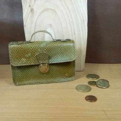 Porte monnaie cuir lézard savane