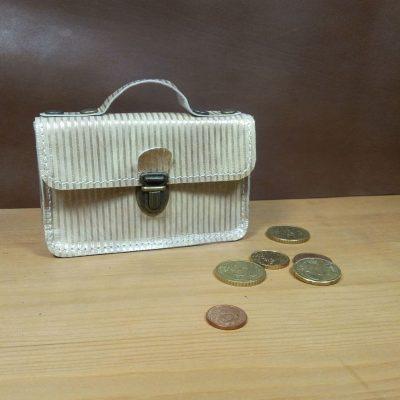 Porte monnaie cartable cuir doré
