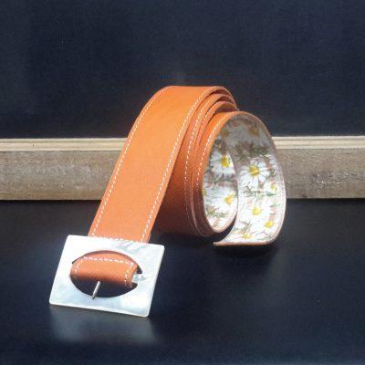ceinture cuir orange cousu collé