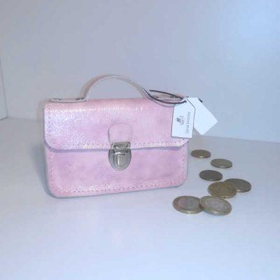 Porte monnaie cartable cuir rose nacré