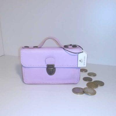 Porte monnaie cartable cuir rose