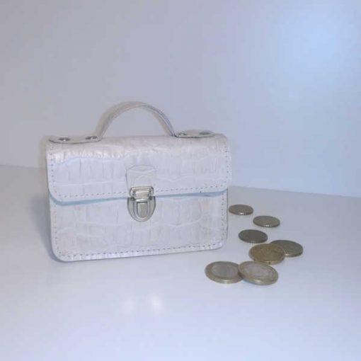 Porte monnaie cartable cuir blanc