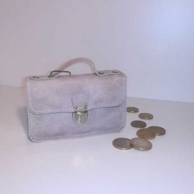 Porte monnaie cartable cuir gris