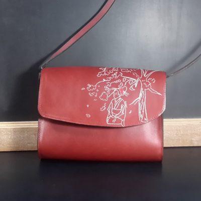 sac à main cuir gravé
