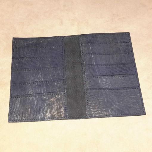 Portefeuille cuir bleu métallisé