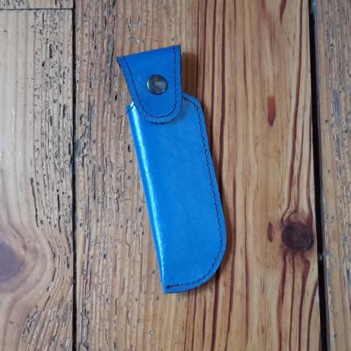 Etui à couteau en cuir bleu