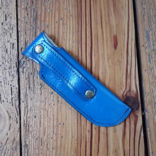 étui à couteau en cuir bleu