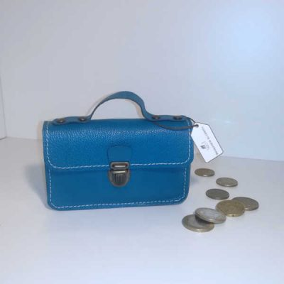 Porte monnaie cartable cuir bleu