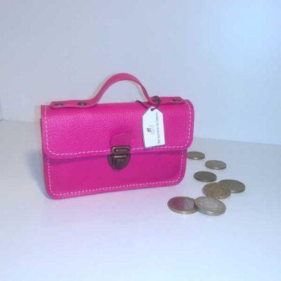 Porte monnaie cartable cuir rose fluo