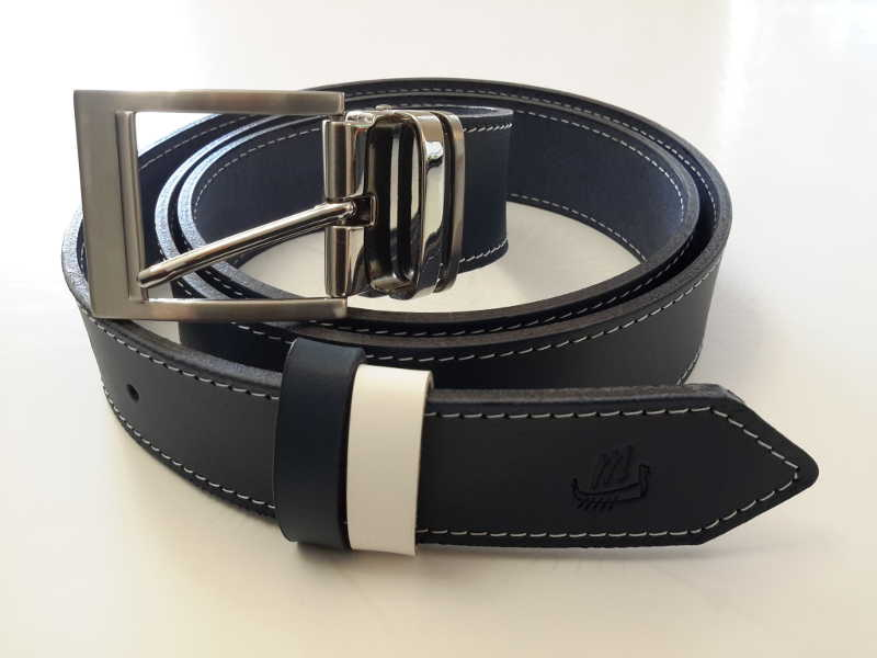 ceinture cuir bleu marine couture sellier made in france