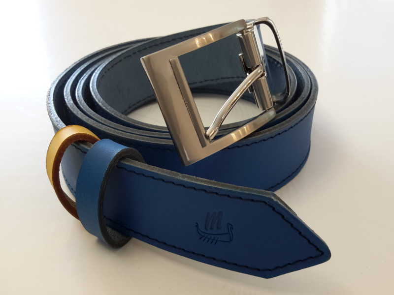 ceinture cuir bleu couture sellier made in france