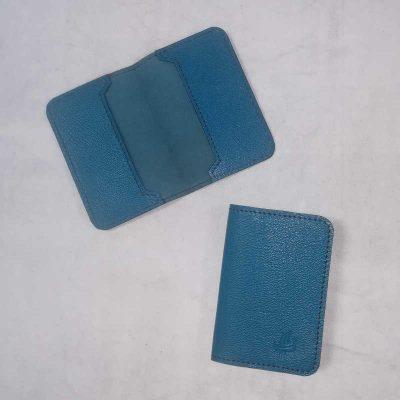 Porte carte cuir bleu ocean