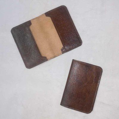 Porte carte cuir brun fumé