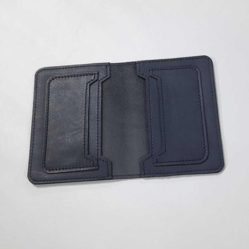 Porte carte cuir bleu pétrole grand modèle
