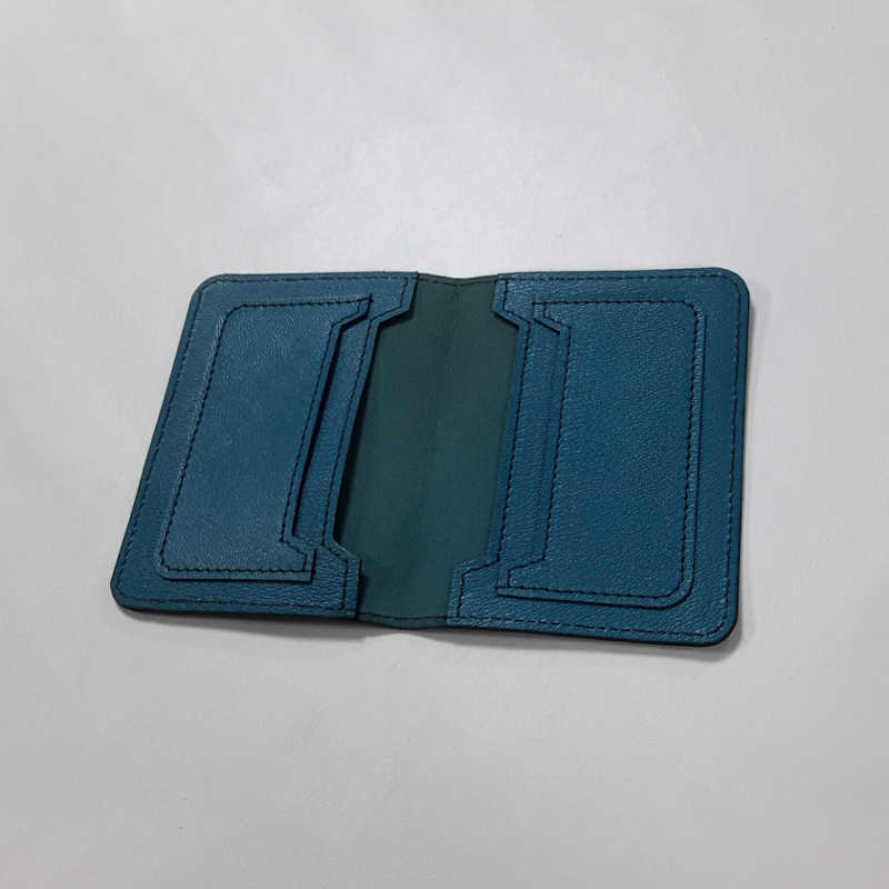 porte carte cuir bleu canard