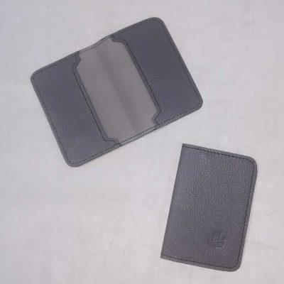Porte carte cuir gris