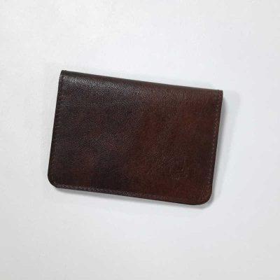 porte cartes cuir brun fumé grand modele