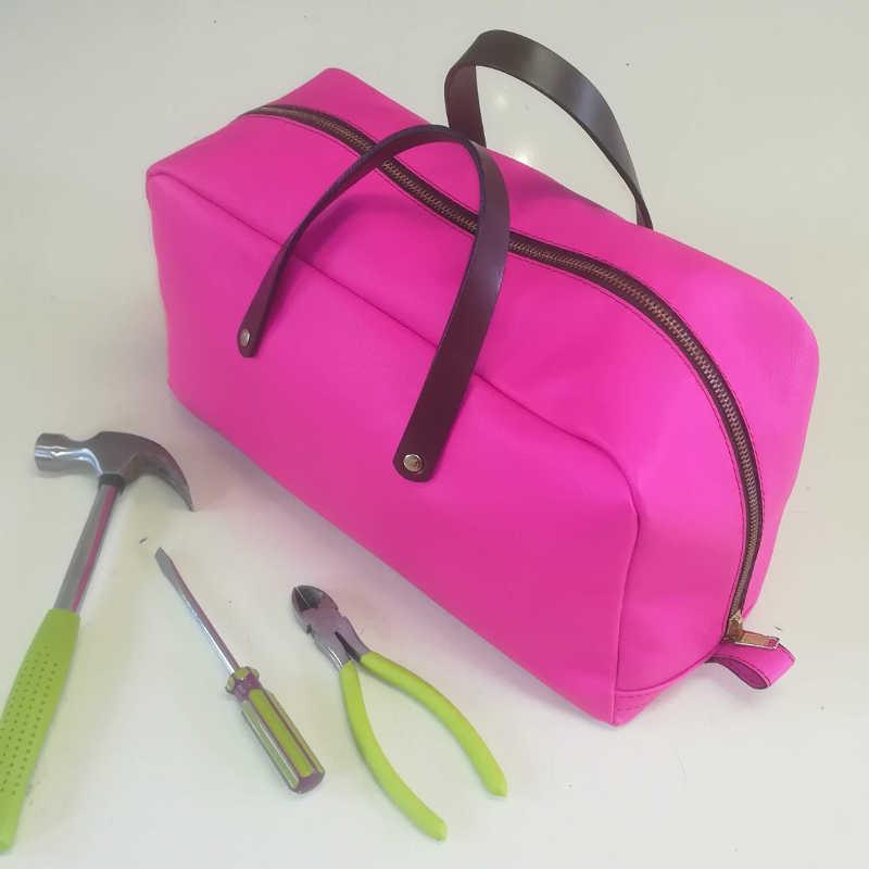 Sacoche outils en cuir rose