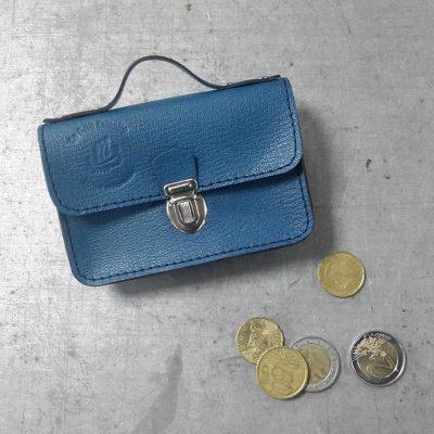 porte monnaie cartable petit cotentin cuir bleu
