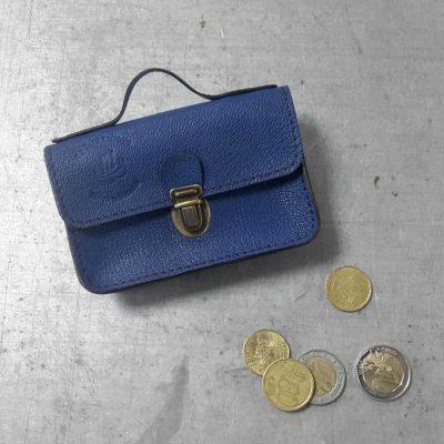 porte monnaie cartable petit cotentin cuir bleu intense