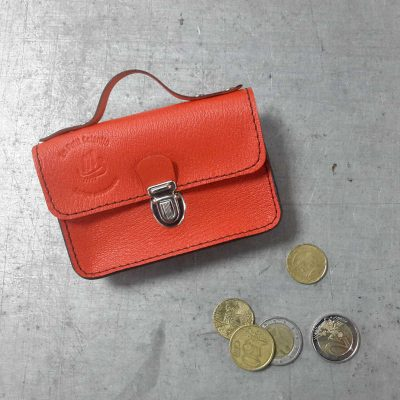 porte monnaie cartable petit cotentin cuir orange