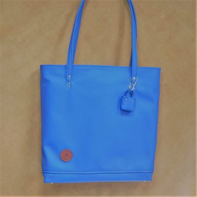 sac cabas cuir bleu ocean made in france