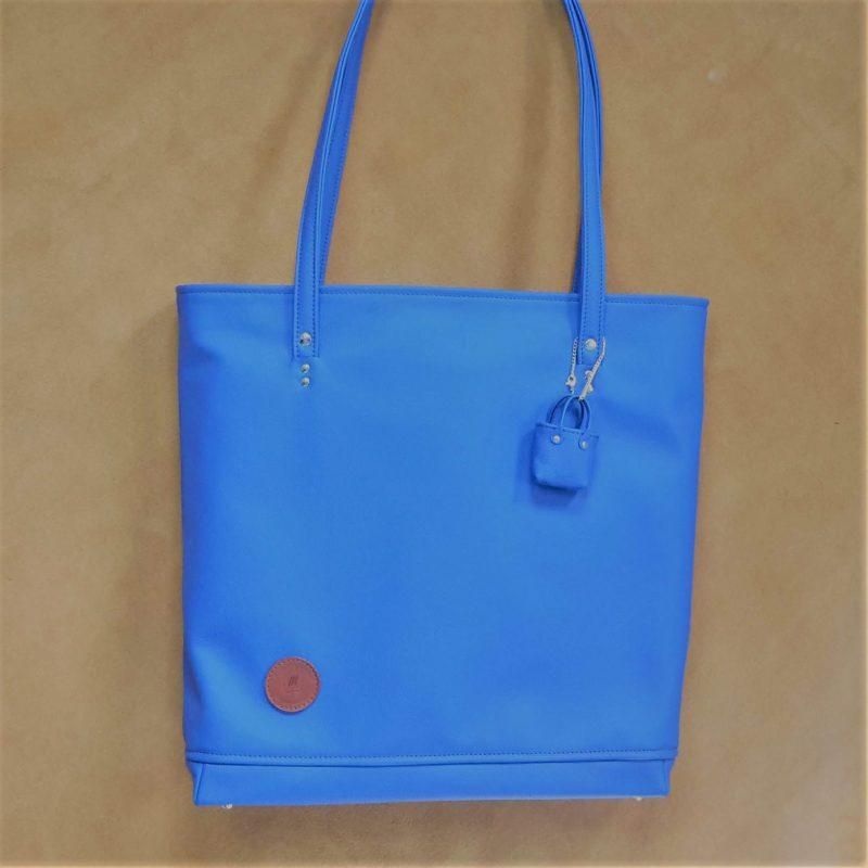 sac cabas cuir bleu ocean made in france