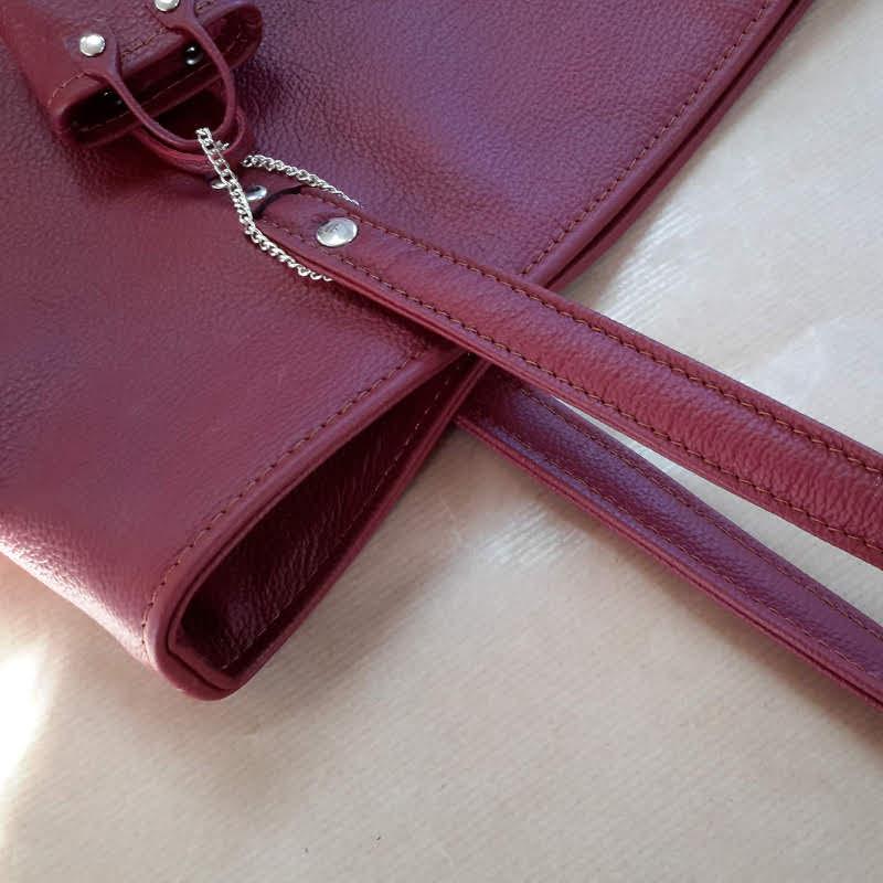 Décalé sac à main cuir bicolore marron intérieur