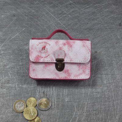 Porte monnaie cartable en cuir chantilly framboise blanche