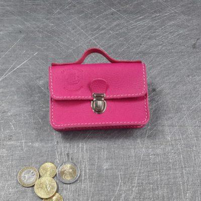 Porte monnaie cartable en cuir rose vif rose