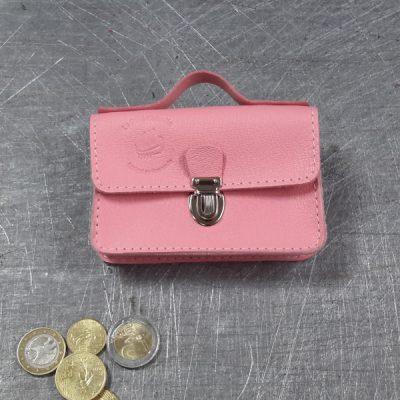 Porte monnaie cartable en cuir rose pâle