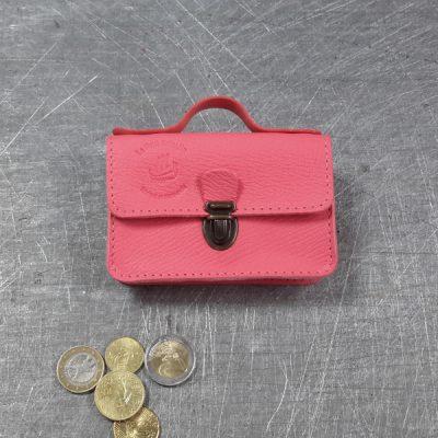 Porte monnaie cartable en cuir rose