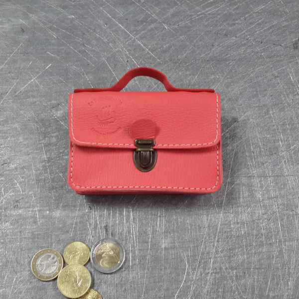 Porte monnaie cartable en cuir rose orangé