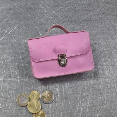 porte monnaie cuir rose blanc nickel