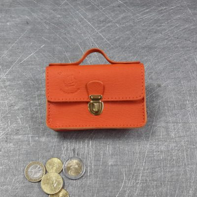 Porte monnaie cartable en cuir orange