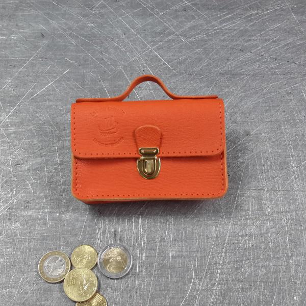 Porte monnaie cartable en cuir orange
