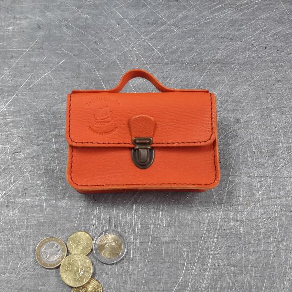 Porte monnaie cartable en cuir orange 22