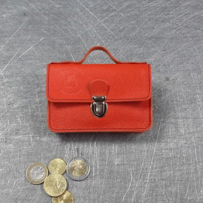 Porte monnaie cartable en cuir orange vif 23