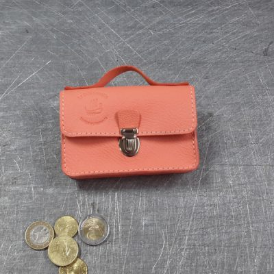 Porte monnaie cartable en cuir saumon 26