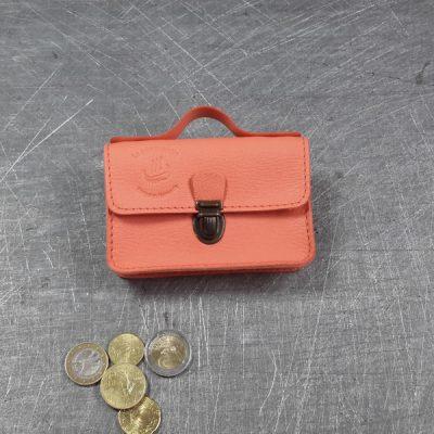 Porte monnaie cartable en cuir saumon 27