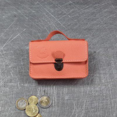 Porte monnaie cartable en cuir saumon 28