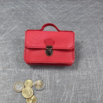 Porte monnaie cartable en cuir rouge 29