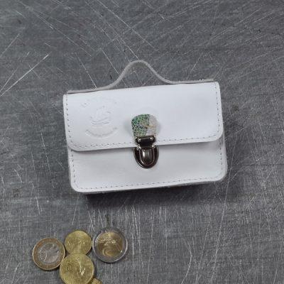 Porte monnaie cuir bicolor blanc fleuri blanche nickel