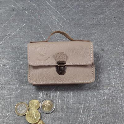 Porte monnaie cartable en cuir beige 33