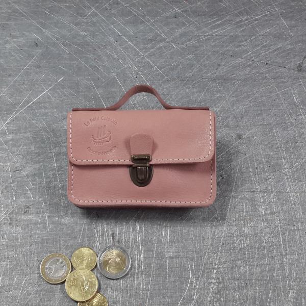 Porte monnaie cartable en cuir nude 35